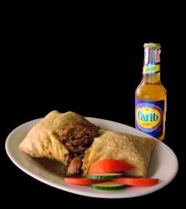 Beef Roti and Carib Lager