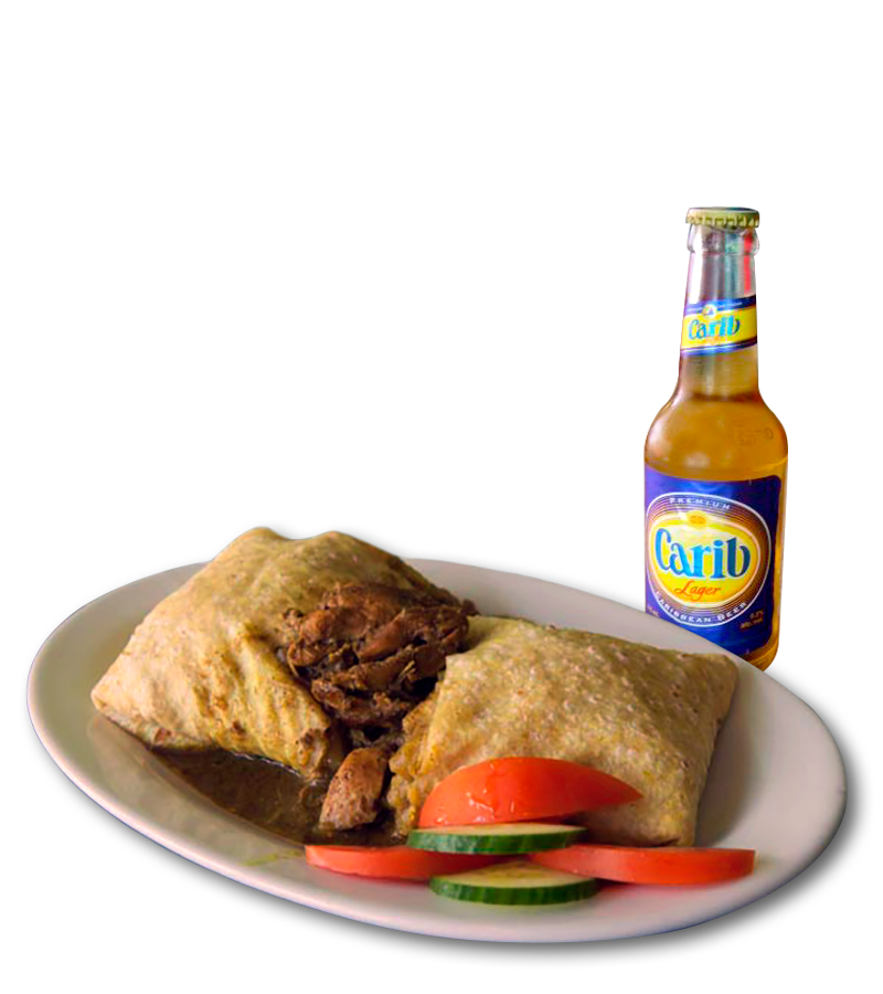Beef Roti and Carib Lager